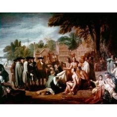 Penns Treaty with the Indians November 1683 West Benjamin (1738-1820American) Canvas Art - Benjamin West (24 x 36)