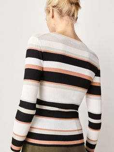 Spring Summer 2017 Women´s RIBBED SWEATER WITH STRIPES at Massimo Dutti for 690. Effortless elegance!
