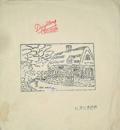 Vintage Deighton embroidery transfer - Country Lane with Thatched Cottage scene in Crafts, Embroidery, Patterns | eBay