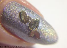 Life in Lacquer: Fish Scales Nail Art macro view of Color Club Worth the Risque holographic polish and mermaid charm