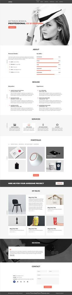 Winter is clean and modern design #PSD template for #onepage creative #resume and #portfolio showcase website to live preview & download click on Visit
