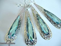 Wedding earrings teardrop earrings something blue silver by mmgem
