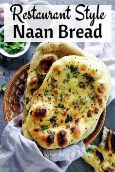 The only recipe YOU need on how to make naan bread at home like a PRO. Make Indian restaurant style Butter/Garlic Naan at home in just 4 simple steps. Make Naan Bread, How To Make Naan, Homemade Naan Bread, Recipes With Naan Bread, Flat Bread, Food To Make, Plain Naan, Restaurant Indien, Comida India