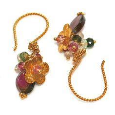 Watermelon Tourmaline Slice Earrings Opal Bali Gold by FizzCandy