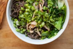 Vegan, gluten-free bok choy noodle bowl