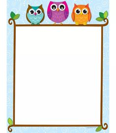 Carson Dellosa Colorful Owls on a Branch Computer Paper Use this adorable and delightful Colorful Owls on a Branch design to promote your classroom theme! So many uses to liven up projects, writing assignments, class newsletters and more! Borders For Paper, Borders And Frames, Owl Theme Classroom, Classroom Ideas, Computer Paper, Printer Paper, Teachers Aide, Stationery, Clip Art