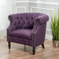 See the Bourbeau Chesterfield Chair Upholstery: Plum. Chair Upholstery, Chair Fabric, Wingback Chair, New Living Room, Living Room Chairs, Purple Living Room Furniture, Barrel Chair, Chesterfield Chair, Armchair