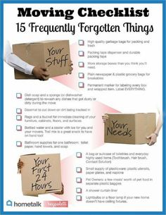 Great list to help you keep your sanity in moving. 15 Frequently Forgotten Items On Your Moving Checklist. If you like this, youll love our FREE tip sheet: Moving Made Easier Tip sheet . Moving House Tips, Moving Day, Moving Tips, Moving Hacks, Moving Across Country Tips, Moving Cross Country, Move On Up, Big Move, New Home Checklist