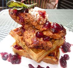 """Piece, Love, & Cooking: Thanksgiving Leftovers """"Chicken & Waffles"""" with Pecan Crusted Turkey Tenderloins, Cornbread Dressing Waffles, Vanilla Bean-Pecan Butter, Brandied Cranberry-Maple Syrup, & Brown Butter Fried Sage"""