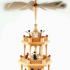 Vintage German Christmas pyramid carousel 3-tier