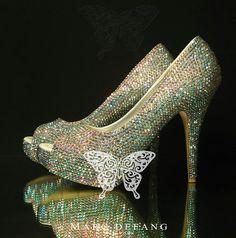 3mm AB Crystal Luxury Peep Toe Heels by MDNY on Etsy, $209.00