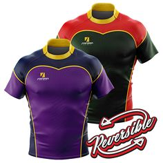 Reversible Rugby Shirts UK manufactured by Scorpion Sports. The outer fabric of the shirts can be produced in a different colour or pattern to the inside fabric surface. Scorpion's reversible shirts can either be produced from a one layer fabric or 2 layers stitched together. Reversible Rugby Shirts are ideal for teams that colours clash, or for schools and colleges.