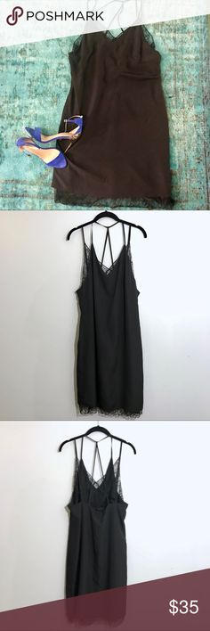 BCBGeneration little black cocktail dress Sexy, flowy LBD with lace details. Size large BCBGeneration Dresses
