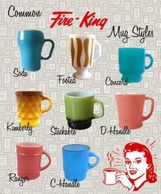 King - Common Mug Styles Common Fire King Mugs Styles - Fire-King is an Anchor Hocking brand of glassware similar to Pyrex. Common Fire King Mugs Styles - Fire-King is an Anchor Hocking brand of glassware similar to Pyrex. Vintage Kitchenware, Vintage Dishes, Vintage Glassware, Vintage Pyrex, Antique Dishes, Vintage Dinnerware, Vintage Bowls, Antique Toys, Vintage Love