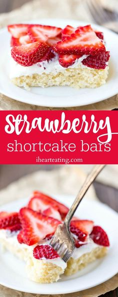 Strawberry Shortcake Bars Recipe - easy shortcake cake layer topped with whipped cream and strawberries. Such a great spring, summer, or Mother's Day dessert!