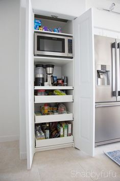How To Build A Hidden Coffee Station and Microwave – diy kitchen decor on a budget Kitchen Pantry Design, Kitchen Pantry Cabinets, Kitchen On A Budget, Kitchen Organization, Diy Kitchen, Kitchen Interior, Kitchen Storage, Kitchen Decor, Kitchen Stuff