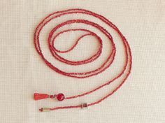 Red beaded necklace lariat seed bead necklace by xEsFunThings, $15.00