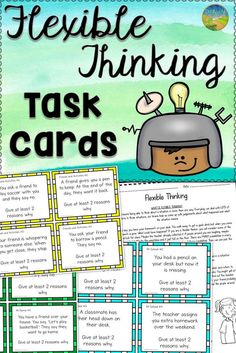 Thinking Task Cards Flexible thinking task cards. Awesome resource for rigid thinkers. Awesome resource for rigid thinkers. Social Skills Lessons, Social Skills Activities, Teaching Social Skills, Social Emotional Learning, Coping Skills, Life Skills, Therapy Activities, Social Thinking, Thinking Skills