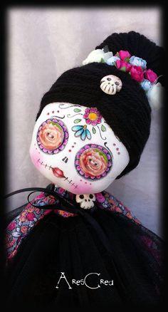 #Creepycute #goth cloth doll Flora handmade #diadelosmuertos inspired doll with big button eyes. Goth rag doll. Goth cloth doll. by AresCrea on Etsy #sugarskull