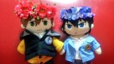 Adore that they wear a button of each other ... Free! - Iwatobi Swim Club, haruka nanase, haru nanase, haru, nanase, haruka, free!, iwatobi, plush doll, makoto tachibana, makoto, tachibana