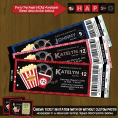 Movie Night Ticket - Printable Birthday Invitation Card DIY | SplashboxDesigns - Digital Art on ArtFire