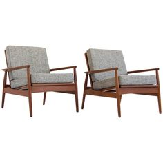 Pair of Danish Teak Lounge Chairs | From a unique collection of antique and modern lounge chairs at https://www.1stdibs.com/furniture/seating/lounge-chairs/