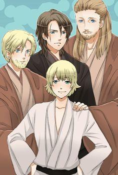Luke, Anakin, Obi- wan and Qui- Gon. Manga