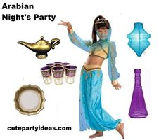 """....you'll feel like a genie in a bottle when  you make her birthday wishes come true with an oasis of magic carpet rides, golden oil lamps, sultry scarves, and a chic sultan's lounge for her harem of friends."