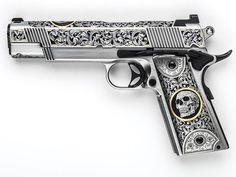 """Skulls"" stainless steel Cisco ""Especial"" 1911 pistol in by Jessie James Firearms Weapons Guns, Guns And Ammo, Airsoft Guns, Rifles, Armas Ninja, 1911 Pistol, Colt 1911, Custom Guns, Military Guns"