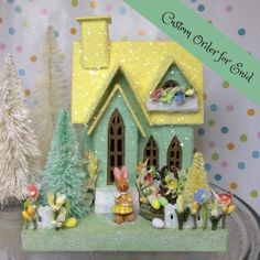 Custom order for Enid Easter Putz Cottage(Medium) Jadeite Green and Yellow Christmas Villages, Christmas Home, Christmas Trees, Vintage Christmas, Putz Houses, Village Houses, Doll Houses, Easter Crafts, Easter Projects