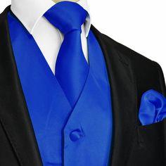 Royal Blue XS to 6XL Solid Tuxedo Suit Dress Vest by WeddingTux
