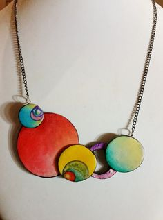 """Small surreal clouds"", necklace, polymer clay 