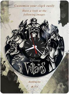 Disney Villains vinyl record clock, wall clock. vinyl clock, kids clock gift 153 #newlifeofvinyl