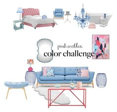"""""""Pink + Blue House"""" by ciarne28 on Polyvore featuring interior, interiors, interior design, home, home decor, interior decorating, Universal Lighting and Decor, Safavieh, UGG Australia and Allem Studio"""