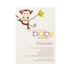 Cute Monkey Girl Baby Shower Invitation by celebrateitinvites