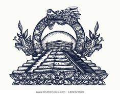 Feathered Serpent and pyramid… Stock Vector: Ancient Maya Civilization. Feathered Serpent and pyramids. Tattoo and t-shirt design. Mayan Tattoos, Mexican Art Tattoos, Indian Tattoos, Calaveras Mexicanas Tattoo, Quetzalcoatl Tattoo, Aztec Tattoos Sleeve, Aztec Drawing, Mexico Tattoo, Aztec Temple