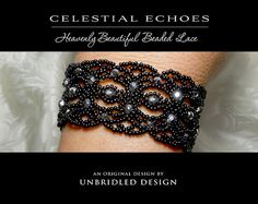 Celestial Echoes is a heavenly beautiful beaded lace that delicately suspends sparkling starry crystals in this graceful, elegant design! So delightfully feminine in white to soooo sultry-sexy in black and everything in between... a perfect pattern that includes a bracelet, choker and collar-style necklace, AND earrings!  Materials: Size 11 seed beads (approximately 36 grams), 3mm and 4mm Czech fire polished crystals, bicone crystals or pearls.  Techniques: Diamond stitch variation, Saraguro…