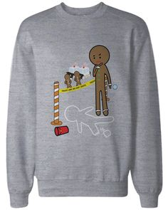 Gingerbread Cookie Investigating Funny Sweatshirts Cute Holiday Grey Pullover Fleece