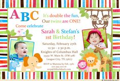 50 best cute twin birthday invitations images on pinterest in 2018 jungle safari twin birthday invitation double animal party abc fun in pink blue with filmwisefo
