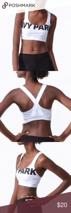Ivy Park white sports bra NWT IvyPark sports bra. White with black letters. Women's size XL. Ivy Park is Beyonce's new clothing line, this bra is perfect for your next workout! 💪🏼💪🏼 Ivy Park Intimates & Sleepwear Bras
