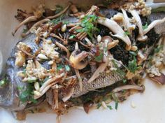 Whole Roast Fish for 2 With Mushroom Pesto and Roasted Wild Mushrooms Recipe Fish Recipes, Seafood Recipes, Dinner Recipes, Healthy Recipes, Clean Recipes, Healthy Eats, Wild Mushrooms, Stuffed Mushrooms, Stuffed Peppers