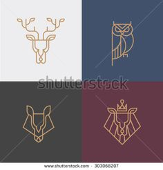 Linear hipster logo vector icon element - deer, owl, wolf, lion - stock vector