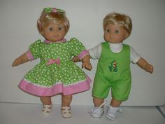 Bitty Twins green and pink spring/summer flower dress and frog  shorts  fit bitty baby 15 inch baby dolls. $26.99, via Etsy.