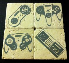 Set of 4 Nintendo Controller Coasters I Love Games, Fun Games, Geek Cave, Video Game Rooms, Video Games, Nintendo Controller, Nerd Crafts, All The Small Things, Decoration