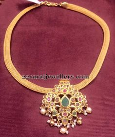 Mesh Chain with Uncut Pendant - Jewellery Designs