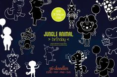 Animal Birthday, Jungle Animals, Design Bundles, How To Draw Hands, Elephant, Doodles, Diy Projects, Clip Art, Doodle
