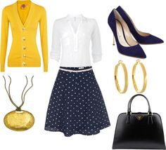 """Teacher Style - Yellow and Navy"" by becka-boo1220 on Polyvore"