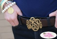 Would be nice in silver. Monogrammed Belt Buckle Exclusive to The Pink Monogram