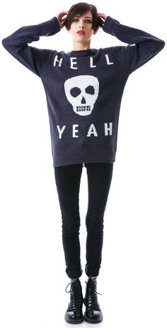 Glamour Kills Skull Yeah Knit Sweater | Dolls Kill