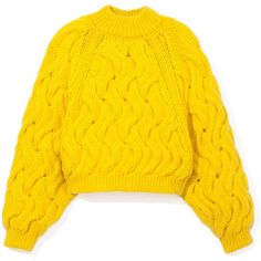DELPOZO Neon Chunky Sweater found on Polyvore featuring tops, sweaters, chunky sweater, neon sweater, yellow crop sweater, mock neck crop top and cropped sweater
